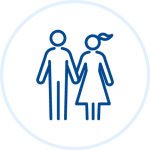 Illustration of man and woman holding hands
