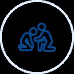 Illustration of two people kneeling