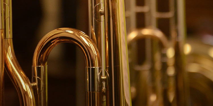 Abstract closeup of a brass instrument