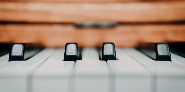 Closeup shot of keys on a piano
